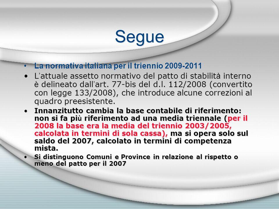 Segue La normativa italiana per il triennio 2009-2011 L attuale assetto normativo del patto di stabilit à interno è delineato dall art. 77-bis del d.l