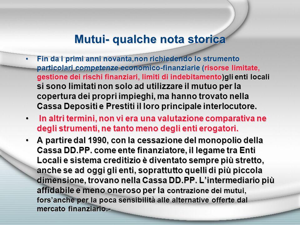 Mutui- qualche nota storica Fin da i primi anni novanta,non richiedendo lo strumento particolari competenze economico-finanziarie (risorse limitate, g