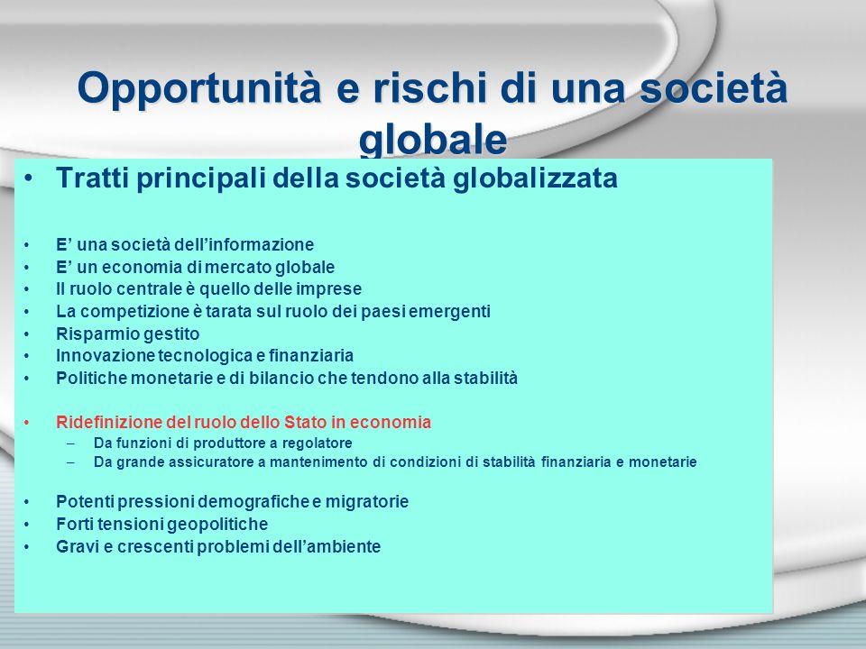 Opportunità e rischi di una società globale Tratti principali della società globalizzata E una società dellinformazione E un economia di mercato globa