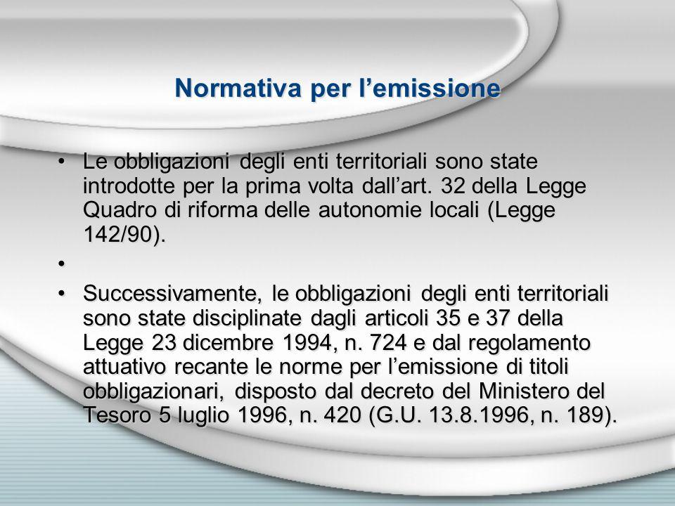 Normativa per lemissione Le obbligazioni degli enti territoriali sono state introdotte per la prima volta dallart. 32 della Legge Quadro di riforma de