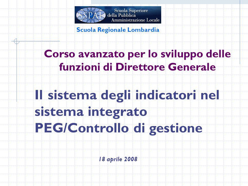 Corso avanzato per lo sviluppo delle funzioni di Direttore Generale 18 aprile 2008 Scuola Regionale Lombardia Il sistema degli indicatori nel sistema integrato PEG/Controllo di gestione