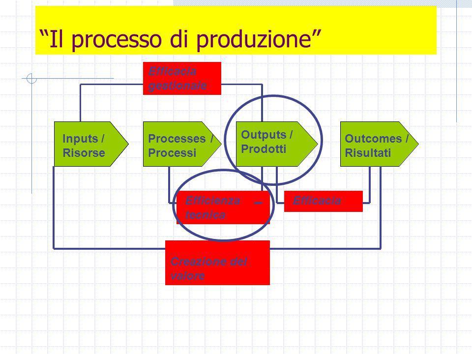 Il processo di produzione Inputs / Risorse Processes / Processi Outputs / Prodotti Outcomes / Risultati Inputs / Risorse Efficienza tecnica Efficacia Creazione del valore Efficacia gestionale