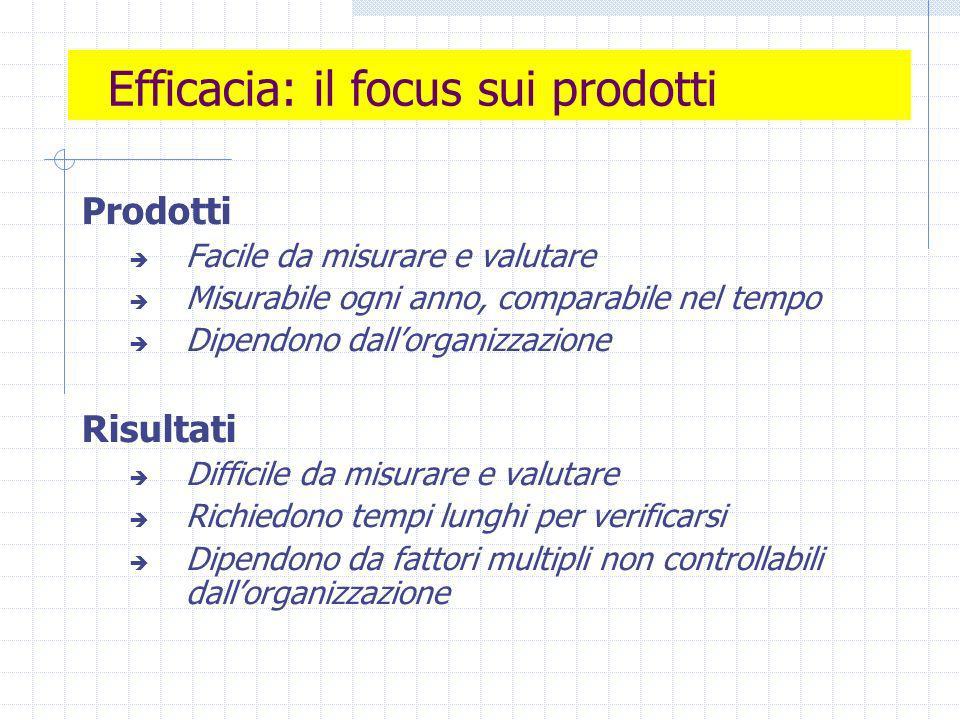 Efficacia: il focus sui prodotti Prodotti Facile da misurare e valutare Misurabile ogni anno, comparabile nel tempo Dipendono dallorganizzazione Risultati Difficile da misurare e valutare Richiedono tempi lunghi per verificarsi Dipendono da fattori multipli non controllabili dallorganizzazione