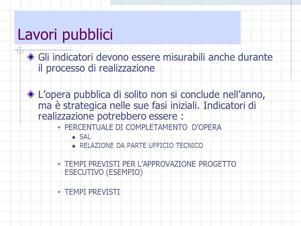 Lavori pubblici Gli indicatori devono essere misurabili anche durante il processo di realizzazione Lopera pubblica di solito non si conclude nellanno, ma è strategica nelle sue fasi iniziali.