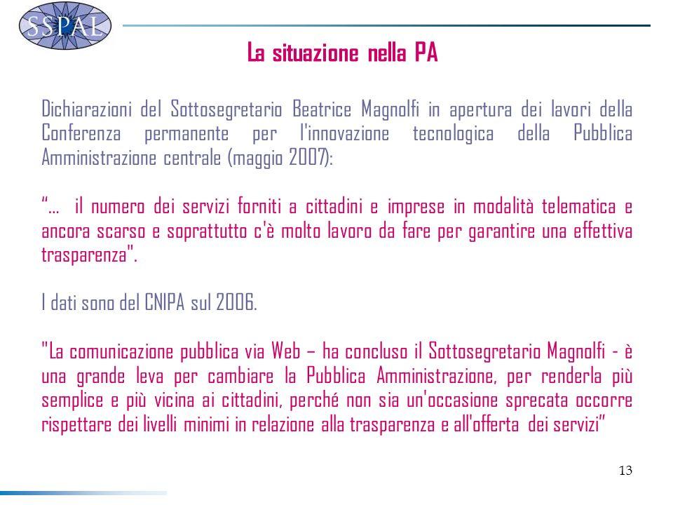 13 La situazione nella PA Dichiarazioni del Sottosegretario Beatrice Magnolfi in apertura dei lavori della Conferenza permanente per l'innovazione tec