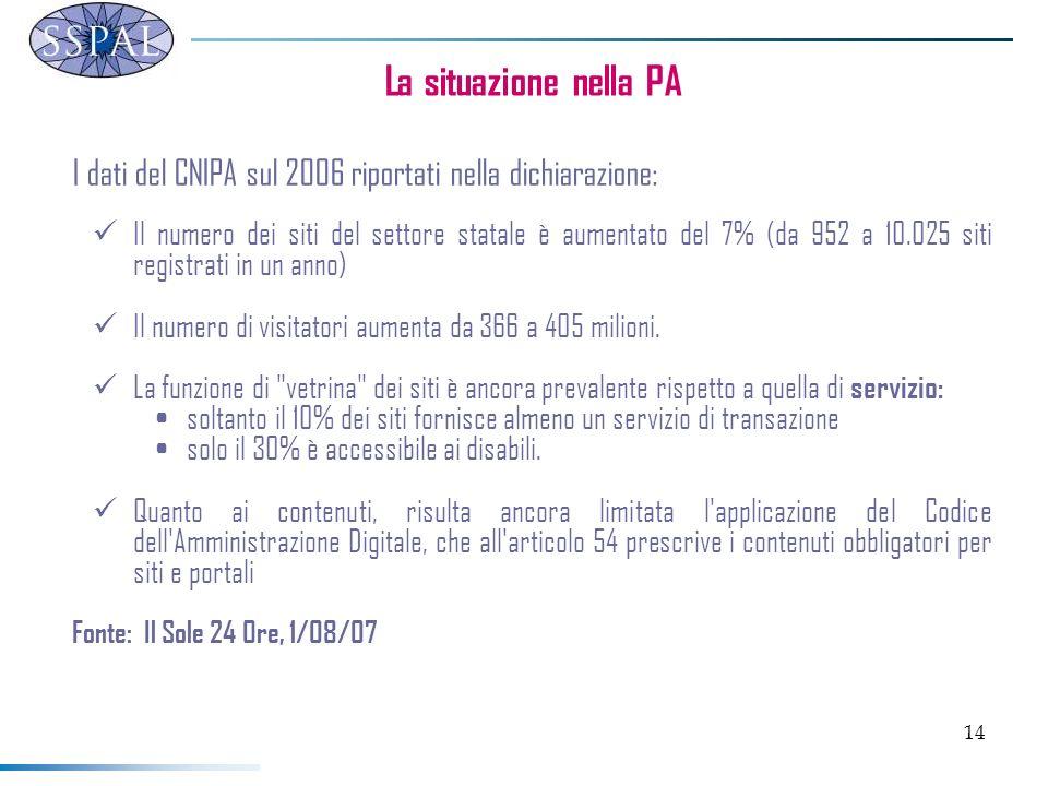 14 La situazione nella PA I dati del CNIPA sul 2006 riportati nella dichiarazione: Il numero dei siti del settore statale è aumentato del 7% (da 952 a