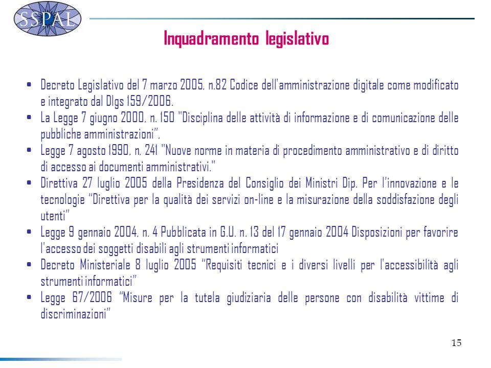 15 Inquadramento legislativo Decreto Legislativo del 7 marzo 2005, n.82 Codice dell'amministrazione digitale come modificato e integrato dal Dlgs 159/