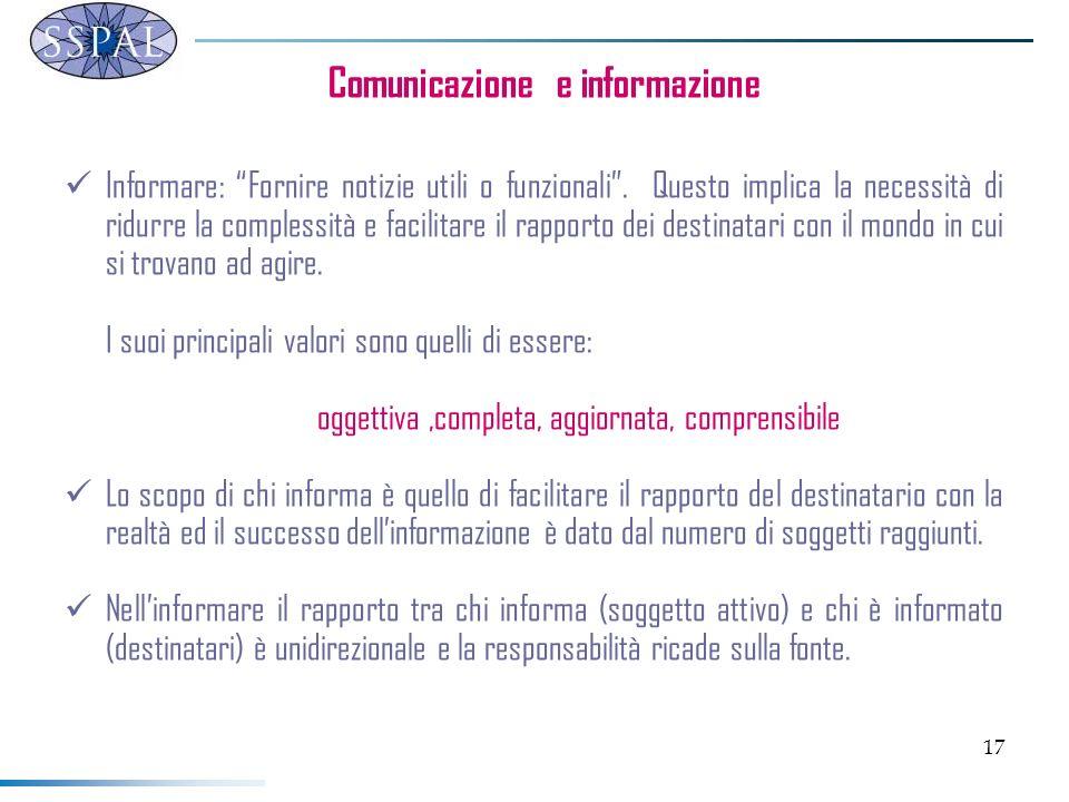 17 Comunicazione e informazione Informare: Fornire notizie utili o funzionali. Questo implica la necessità di ridurre la complessità e facilitare il r