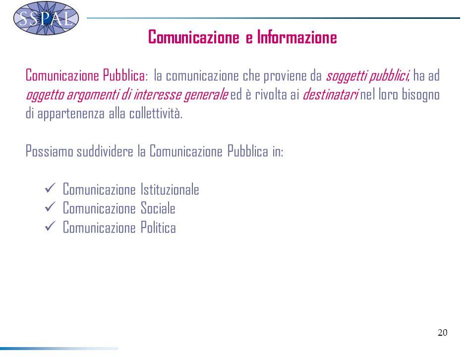 20 Comunicazione e Informazione Comunicazione Pubblica: la comunicazione che proviene da soggetti pubblici, ha ad oggetto argomenti di interesse gener