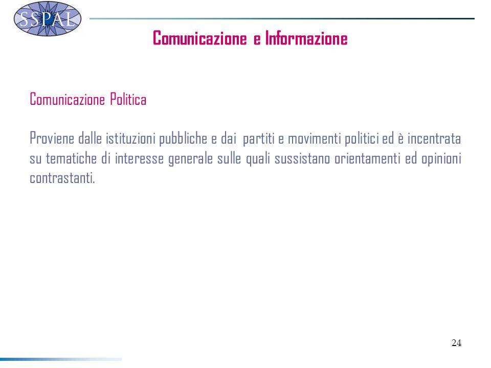 24 Comunicazione e Informazione Comunicazione Politica Proviene dalle istituzioni pubbliche e dai partiti e movimenti politici ed è incentrata su tema