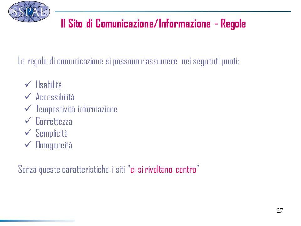 27 Il Sito di Comunicazione/Informazione - Regole Le regole di comunicazione si possono riassumere nei seguenti punti: Usabilità Accessibilità Tempest