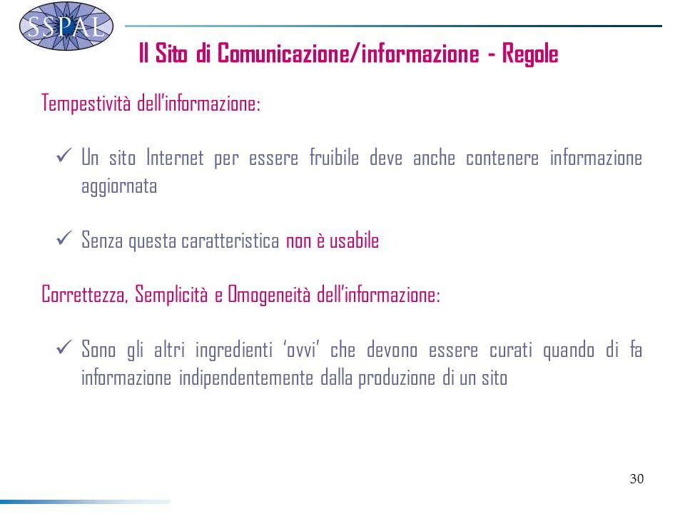 30 Il Sito di Comunicazione/informazione - Regole Tempestività dellinformazione: Un sito Internet per essere fruibile deve anche contenere informazion