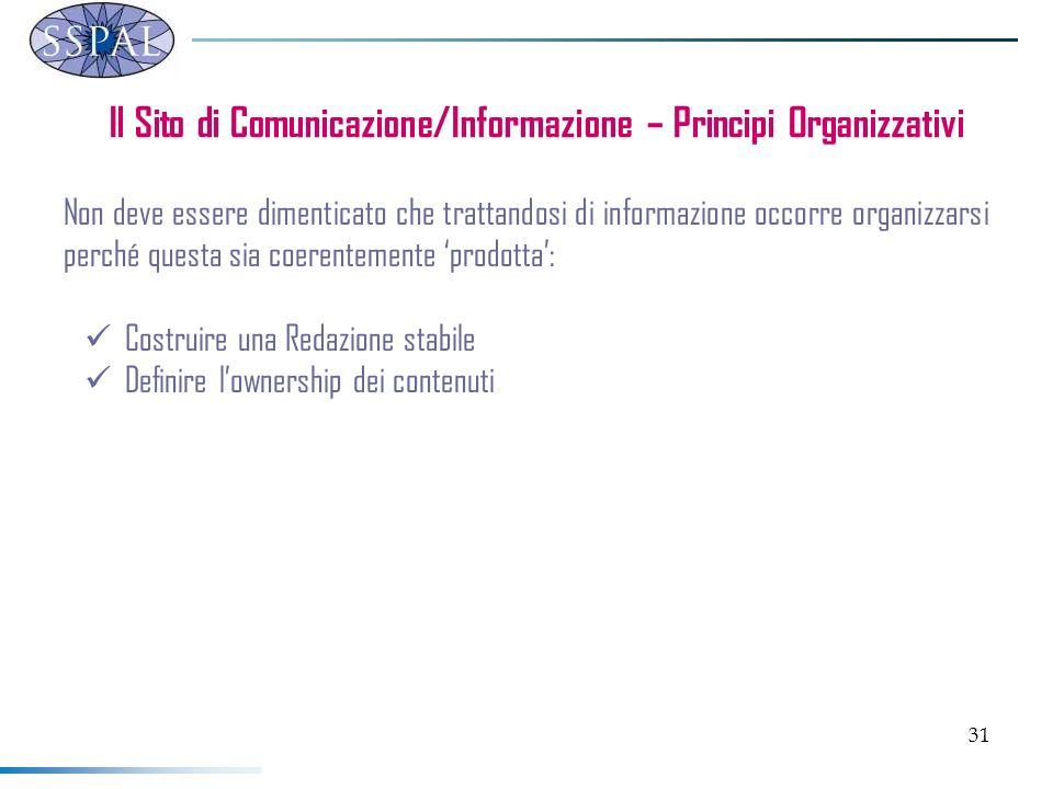 31 Il Sito di Comunicazione/Informazione – Principi Organizzativi Non deve essere dimenticato che trattandosi di informazione occorre organizzarsi per