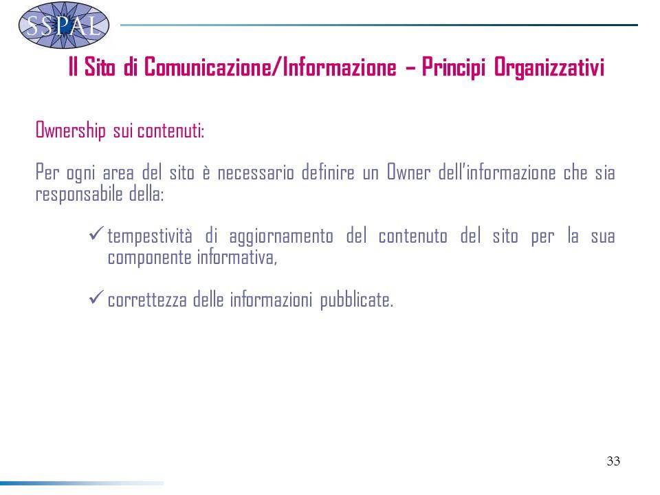 33 Ownership sui contenuti: Per ogni area del sito è necessario definire un Owner dellinformazione che sia responsabile della: tempestività di aggiorn