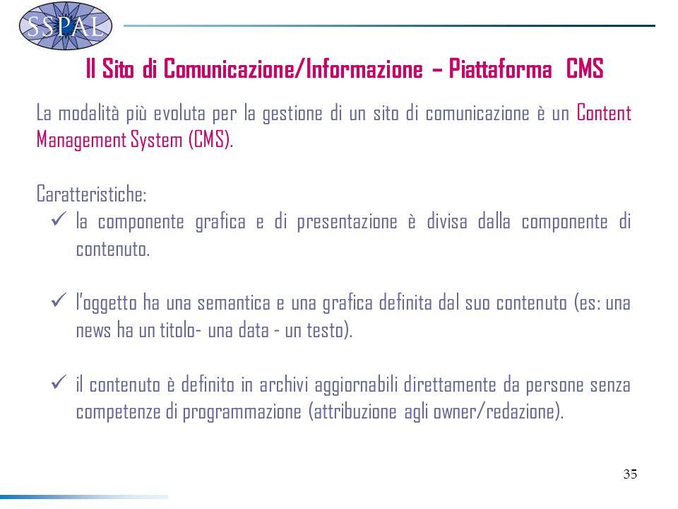 35 Il Sito di Comunicazione/Informazione – Piattaforma CMS La modalità più evoluta per la gestione di un sito di comunicazione è un Content Management