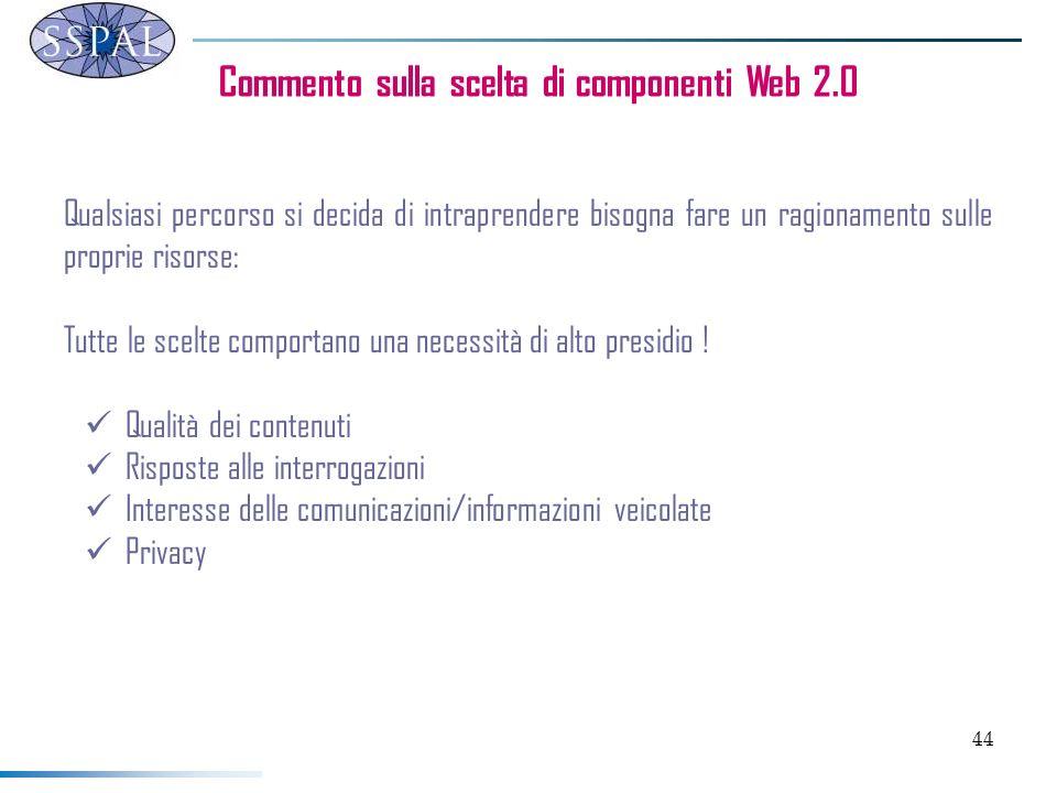 44 Commento sulla scelta di componenti Web 2.0 Qualsiasi percorso si decida di intraprendere bisogna fare un ragionamento sulle proprie risorse: Tutte