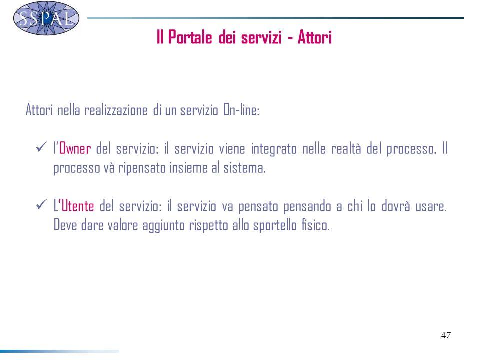 47 Il Portale dei servizi - Attori Attori nella realizzazione di un servizio On-line: lOwner del servizio: il servizio viene integrato nelle realtà de