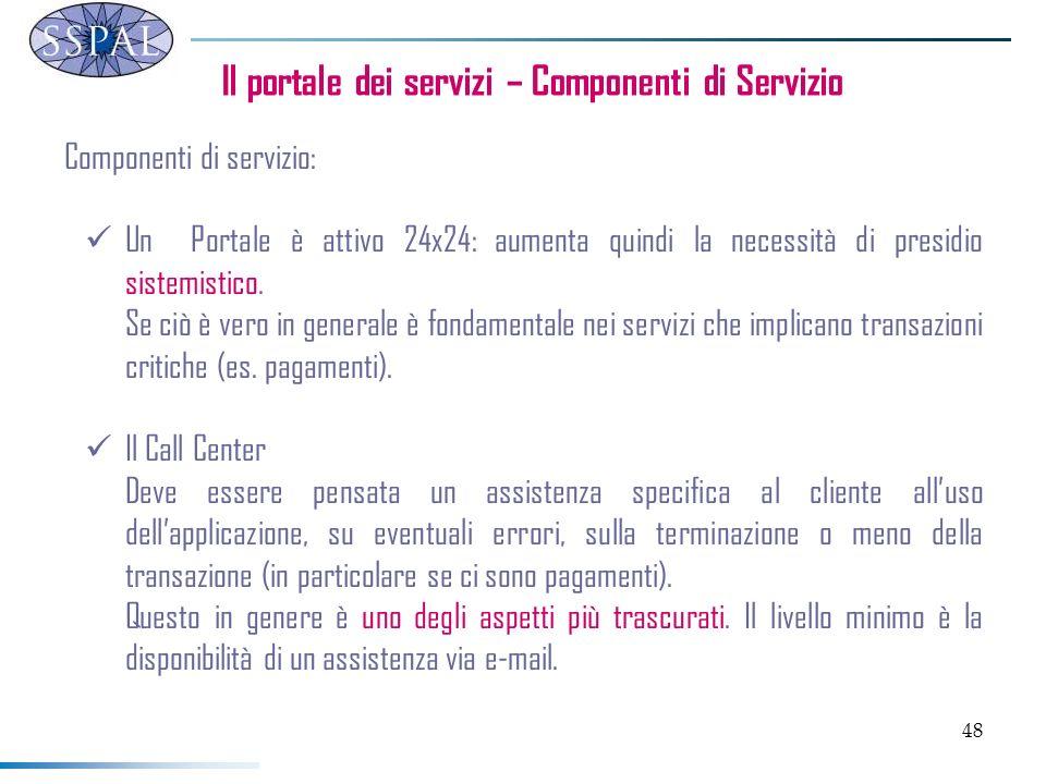 48 Il portale dei servizi – Componenti di Servizio Componenti di servizio: Un Portale è attivo 24x24: aumenta quindi la necessità di presidio sistemis