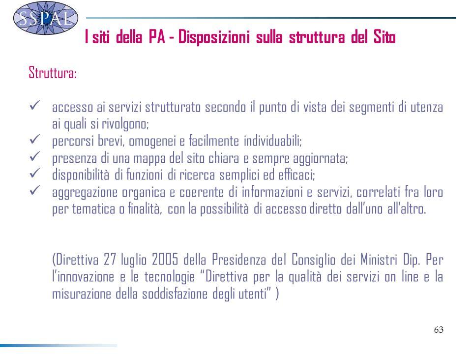 63 I siti della PA - Disposizioni sulla struttura del Sito Struttura: accesso ai servizi strutturato secondo il punto di vista dei segmenti di utenza