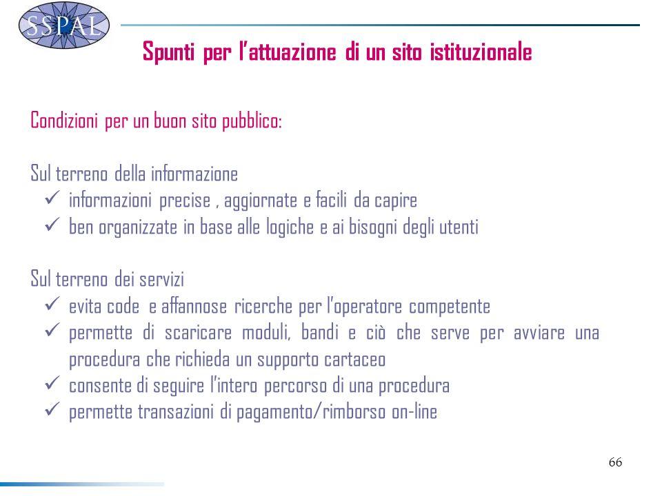66 Spunti per lattuazione di un sito istituzionale Condizioni per un buon sito pubblico: Sul terreno della informazione informazioni precise, aggiorna