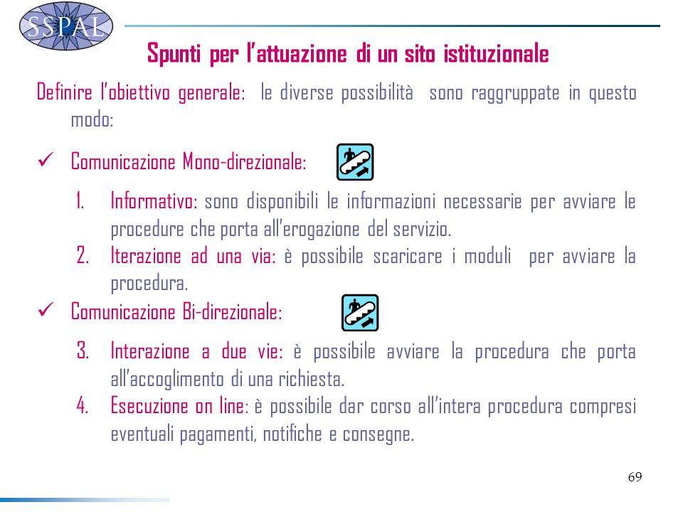 69 Spunti per lattuazione di un sito istituzionale Definire lobiettivo generale: le diverse possibilità sono raggruppate in questo modo: Comunicazione
