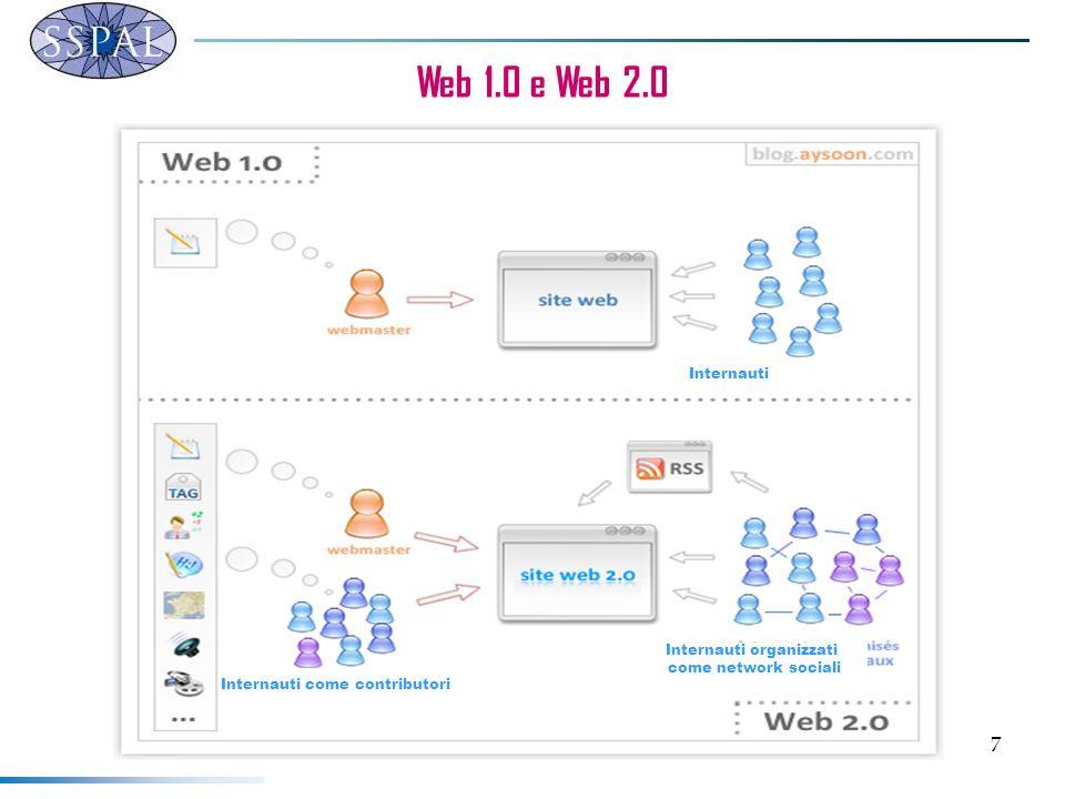 7 Web 1.0 e Web 2.0 Internauti come contributori Internauti organizzati come network sociali Internauti