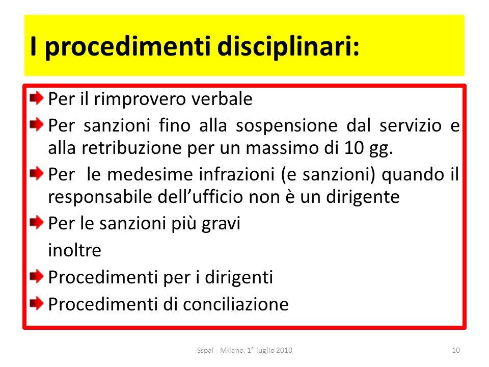 I procedimenti disciplinari: Per il rimprovero verbale Per sanzioni fino alla sospensione dal servizio e alla retribuzione per un massimo di 10 gg.