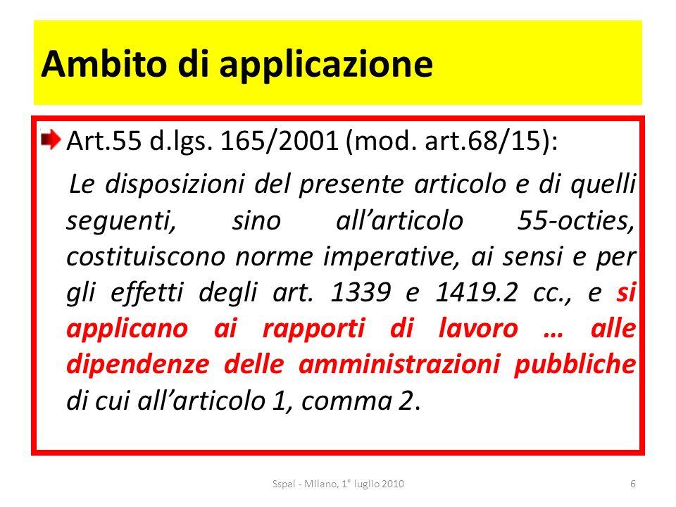 Ambito di applicazione Art.55 d.lgs. 165/2001 (mod.