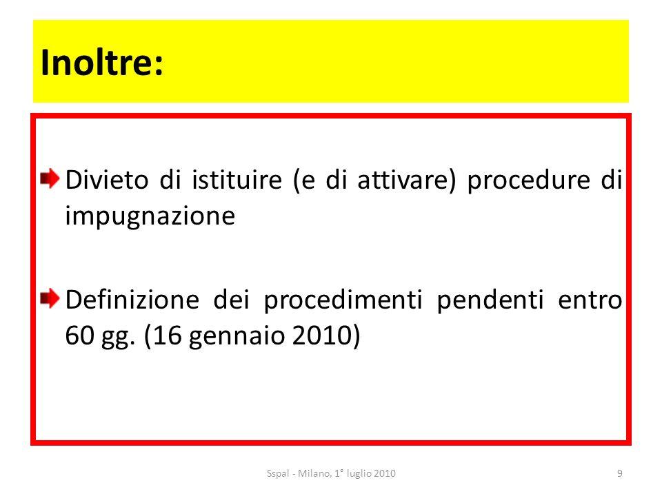 Inoltre: Divieto di istituire (e di attivare) procedure di impugnazione Definizione dei procedimenti pendenti entro 60 gg.