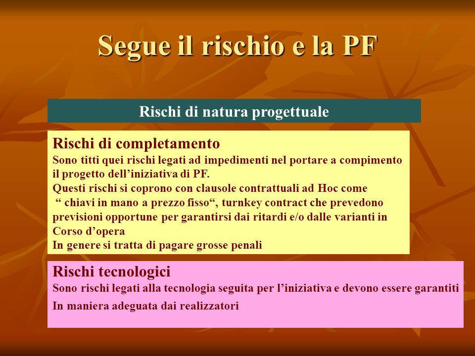 Segue il rischio e la PF Rischi di natura progettuale Rischi di completamento Sono titti quei rischi legati ad impedimenti nel portare a compimento il progetto delliniziativa di PF.