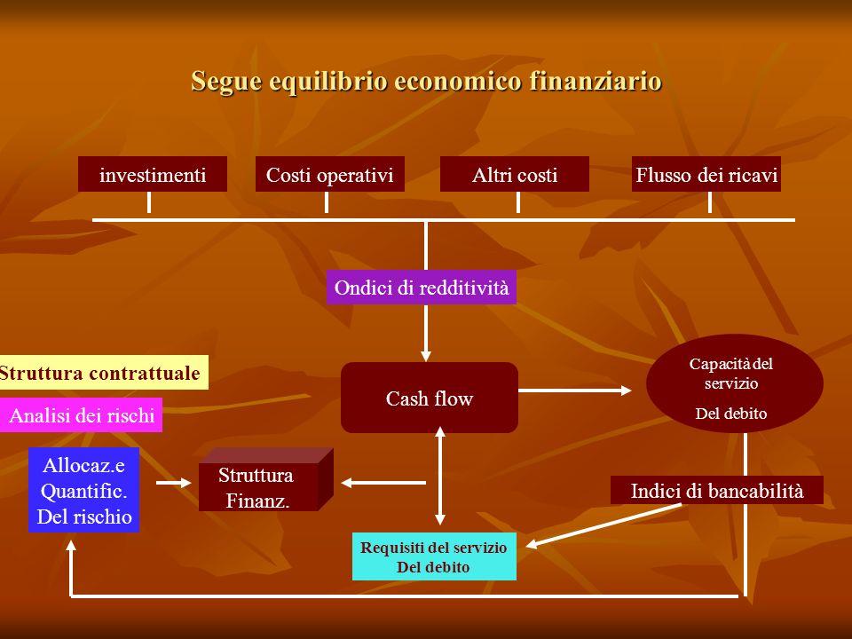 Segue equilibrio economico finanziario investimentiCosti operativiFlusso dei ricaviAltri costi Ondici di redditività Cash flow Struttura contrattuale Analisi dei rischi Allocaz.e Quantific.