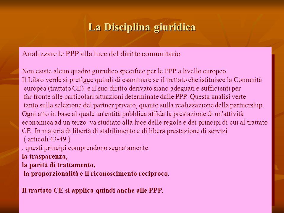 La Disciplina giuridica Analizzare le PPP alla luce del diritto comunitario Non esiste alcun quadro giuridico specifico per le PPP a livello europeo.
