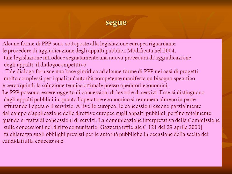 segue Alcune forme di PPP sono sottoposte alla legislazione europea riguardante le procedure di aggiudicazione degli appalti pubblici.