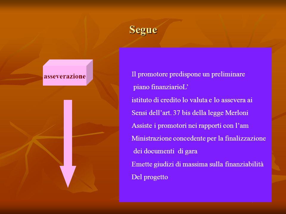 Segue asseverazione Il promotore predispone un preliminare piano finanziarioL istituto di credito lo valuta e lo assevera ai Sensi dellart.
