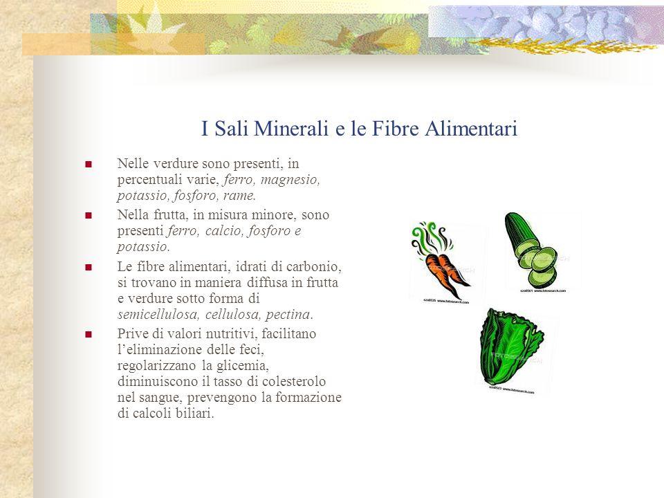 I Sali Minerali e le Fibre Alimentari Nelle verdure sono presenti, in percentuali varie, ferro, magnesio, potassio, fosforo, rame. Nella frutta, in mi