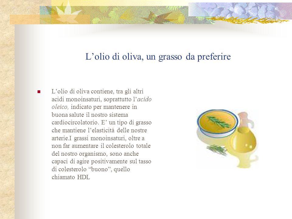 Lolio di oliva, un grasso da preferire Lolio di oliva contiene, tra gli altri acidi monoinsaturi, soprattutto lacido oleico, indicato per mantenere in