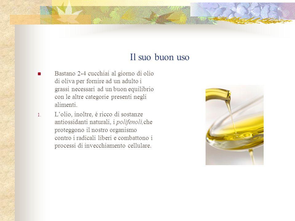 Il suo buon uso Bastano 2-4 cucchiai al giorno di olio di oliva per fornire ad un adulto i grassi necessari ad un buon equilibrio con le altre categor