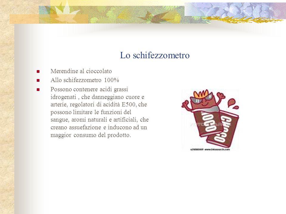 Lo schifezzometro Merendine al cioccolato Allo schifezzometro 100% Possono contenere acidi grassi idrogenati, che danneggiano cuore e arterie, regolat