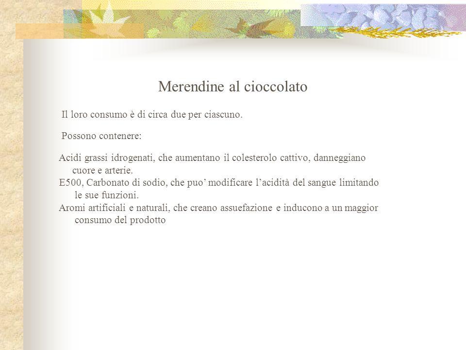 Merendine al cioccolato Il loro consumo è di circa due per ciascuno. Possono contenere: Acidi grassi idrogenati, che aumentano il colesterolo cattivo,
