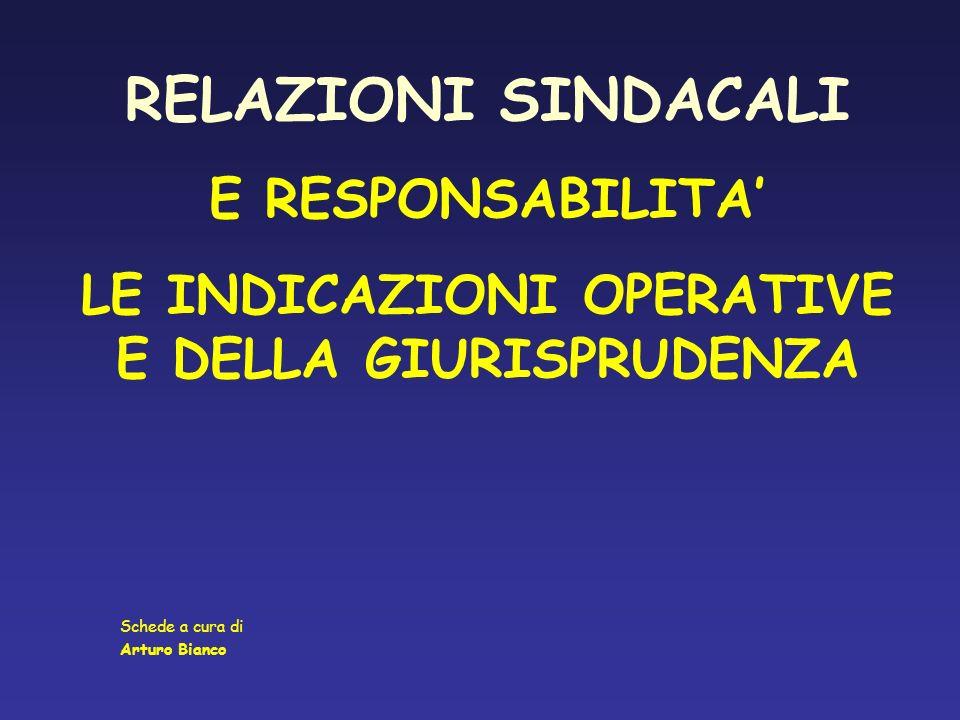 RELAZIONI SINDACALI E RESPONSABILITA LE INDICAZIONI OPERATIVE E DELLA GIURISPRUDENZA Schede a cura di Arturo Bianco