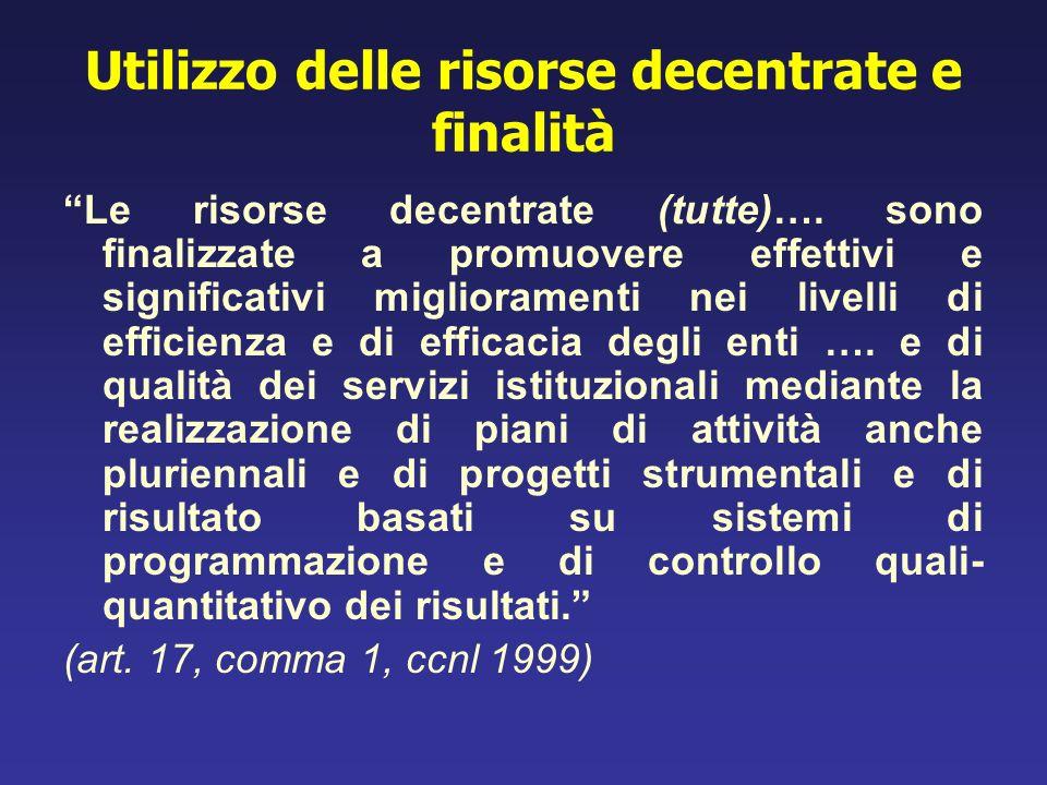 Utilizzo delle risorse decentrate e finalità Le risorse decentrate (tutte)…. sono finalizzate a promuovere effettivi e significativi miglioramenti nei