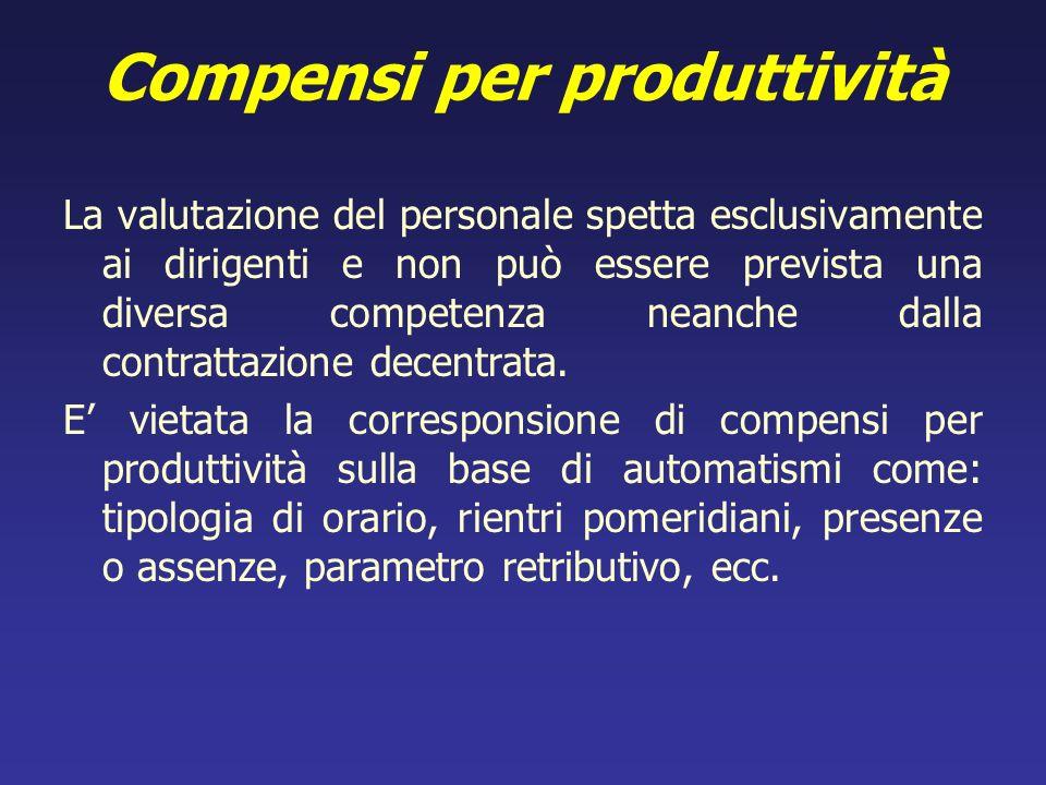 Compensi per produttività La valutazione del personale spetta esclusivamente ai dirigenti e non può essere prevista una diversa competenza neanche dal