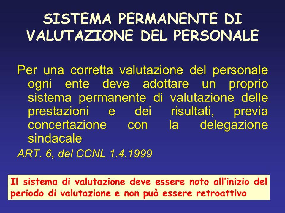 SISTEMA PERMANENTE DI VALUTAZIONE DEL PERSONALE Per una corretta valutazione del personale ogni ente deve adottare un proprio sistema permanente di va