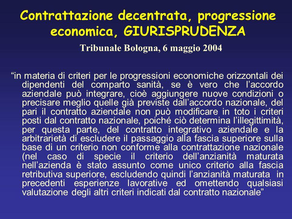 Contrattazione decentrata, progressione economica, GIURISPRUDENZA Tribunale Bologna, 6 maggio 2004 in materia di criteri per le progressioni economich