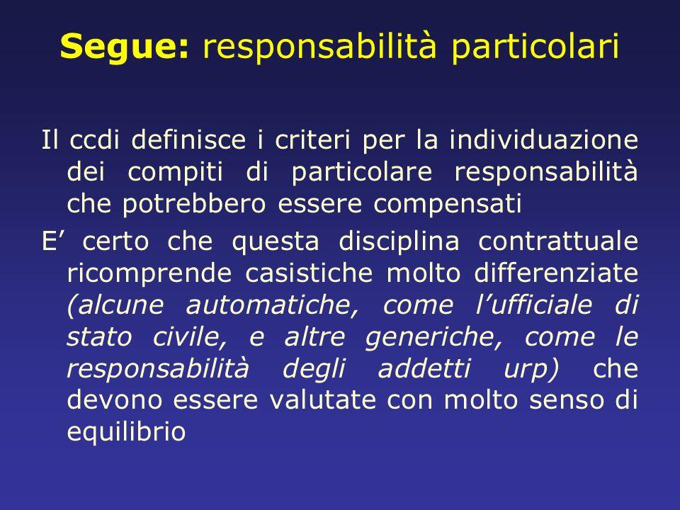 Segue: responsabilità particolari Il ccdi definisce i criteri per la individuazione dei compiti di particolare responsabilità che potrebbero essere co