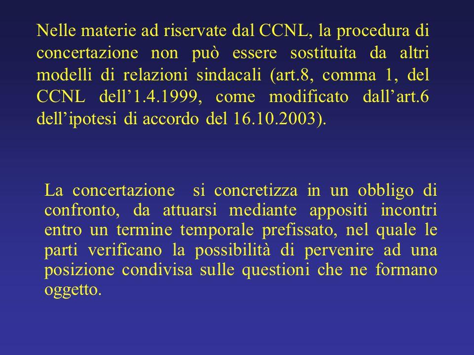 Nelle materie ad riservate dal CCNL, la procedura di concertazione non può essere sostituita da altri modelli di relazioni sindacali (art.8, comma 1,