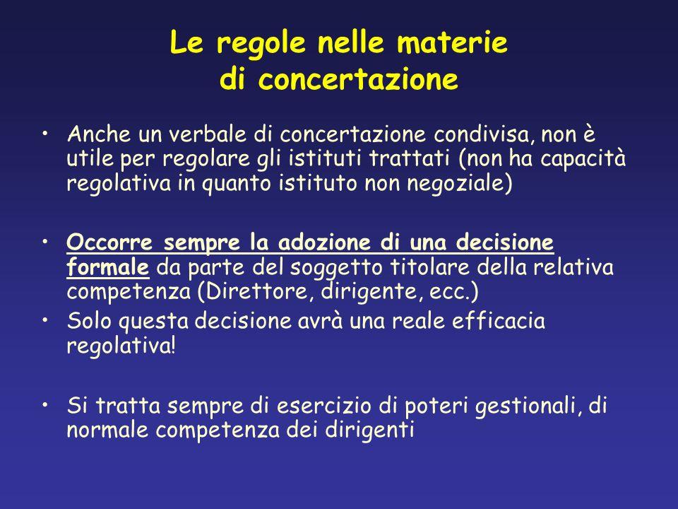 Le regole nelle materie di concertazione Anche un verbale di concertazione condivisa, non è utile per regolare gli istituti trattati (non ha capacità