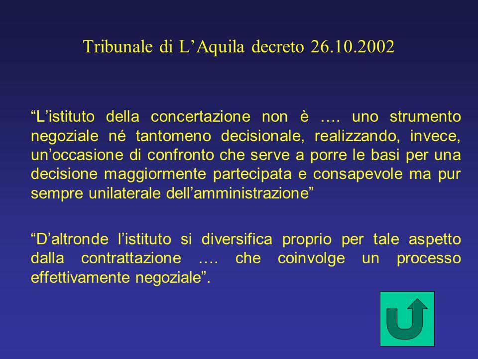 Tribunale di LAquila decreto 26.10.2002 Listituto della concertazione non è …. uno strumento negoziale né tantomeno decisionale, realizzando, invece,