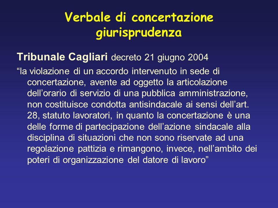 Verbale di concertazione giurisprudenza Tribunale Cagliari decreto 21 giugno 2004 la violazione di un accordo intervenuto in sede di concertazione, av