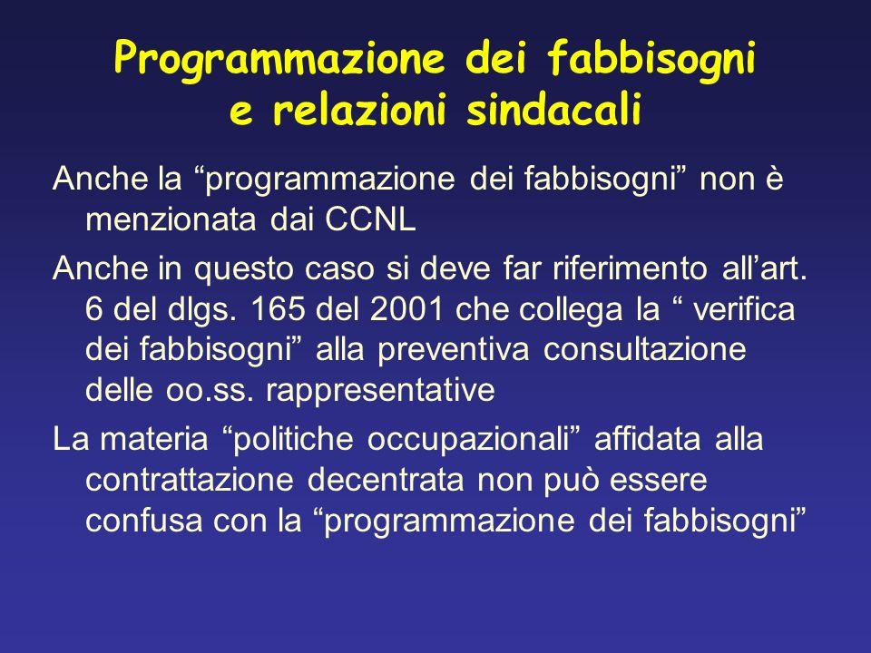 Programmazione dei fabbisogni e relazioni sindacali Anche la programmazione dei fabbisogni non è menzionata dai CCNL Anche in questo caso si deve far